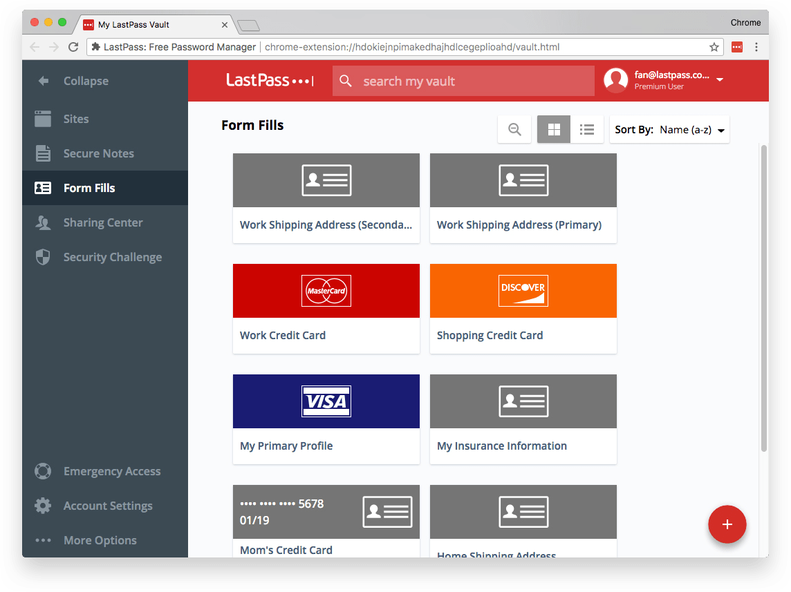 Example of a LastPass digital wallet.